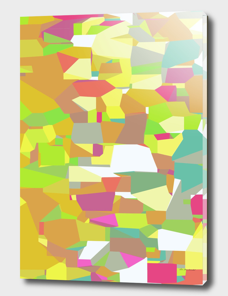 geometric abstract pattern in green yellow pink brown