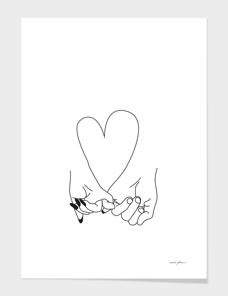 PINKY PROMISE HER AND HIM ROMANTIC ART