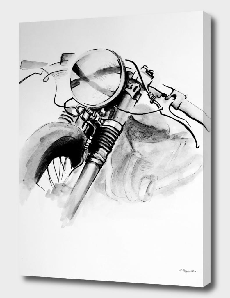 watercolor motorbike
