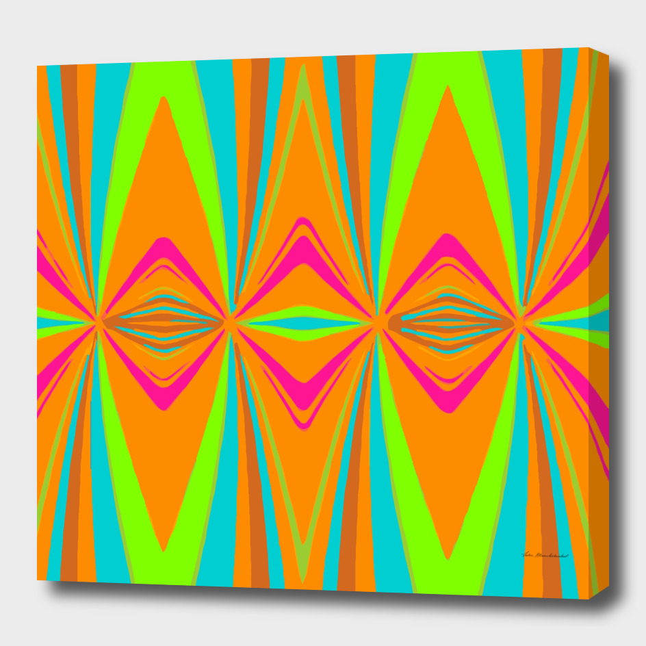 orange pink blue green symmetry art abstract background