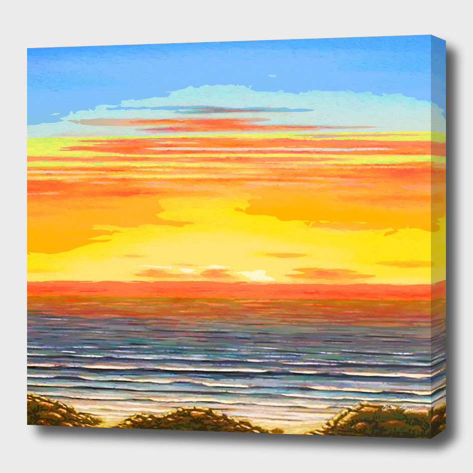 Abstract Beach and Ocean Sunset Streaks