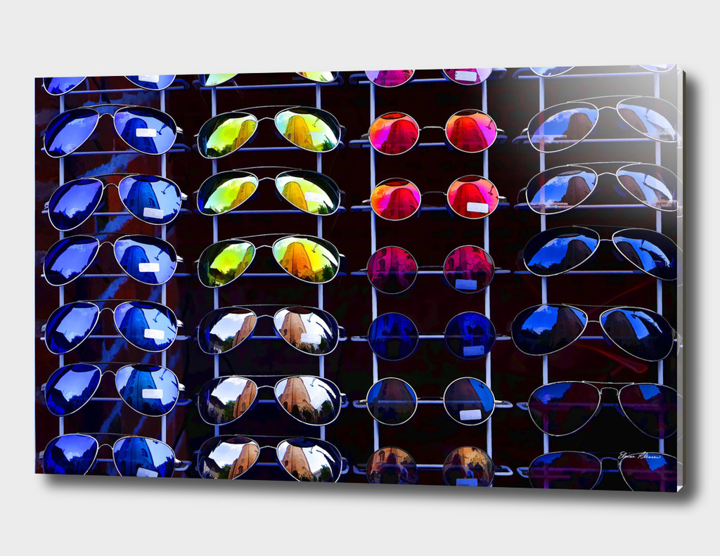 Colorful Sunglass Reflections All in a Row