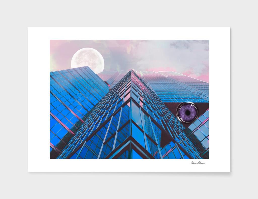 Surreality of Blue Peaks Moon & Eye in Pink Lavender