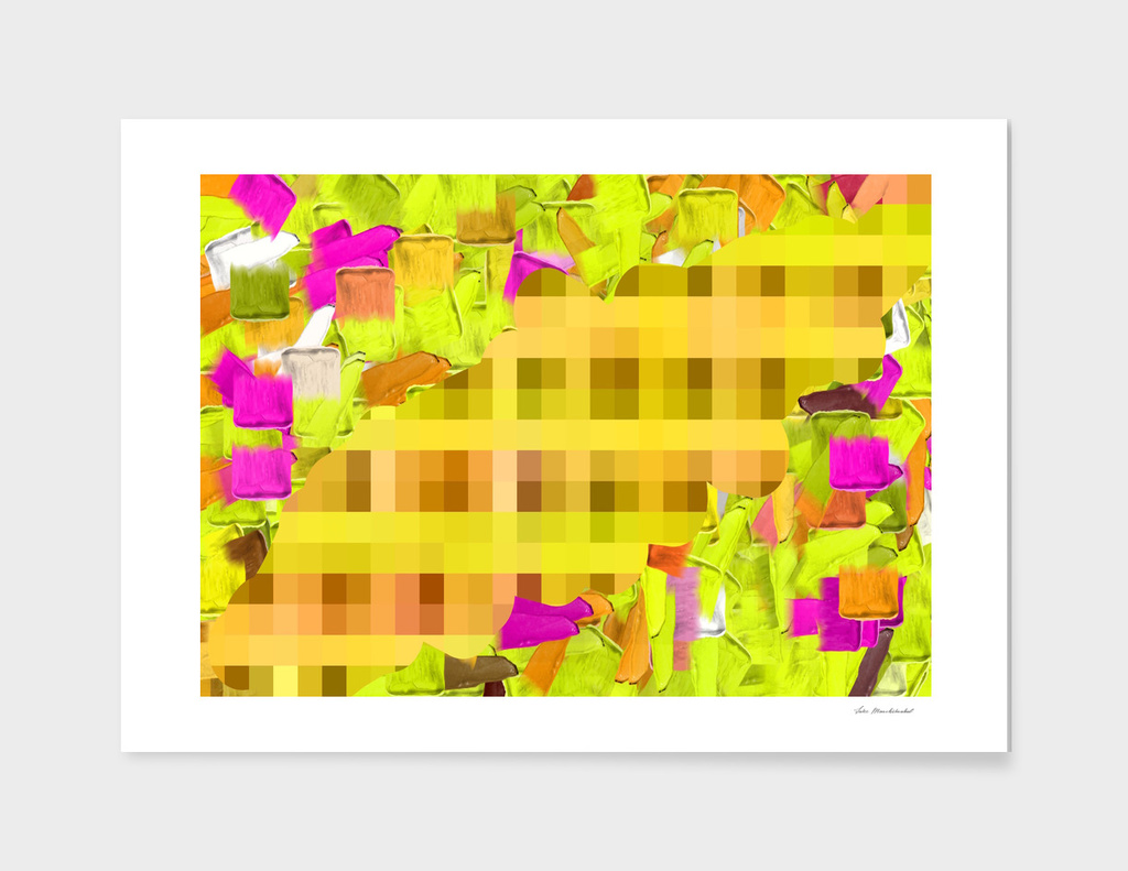green yellow pink brown painting and pixel abstract