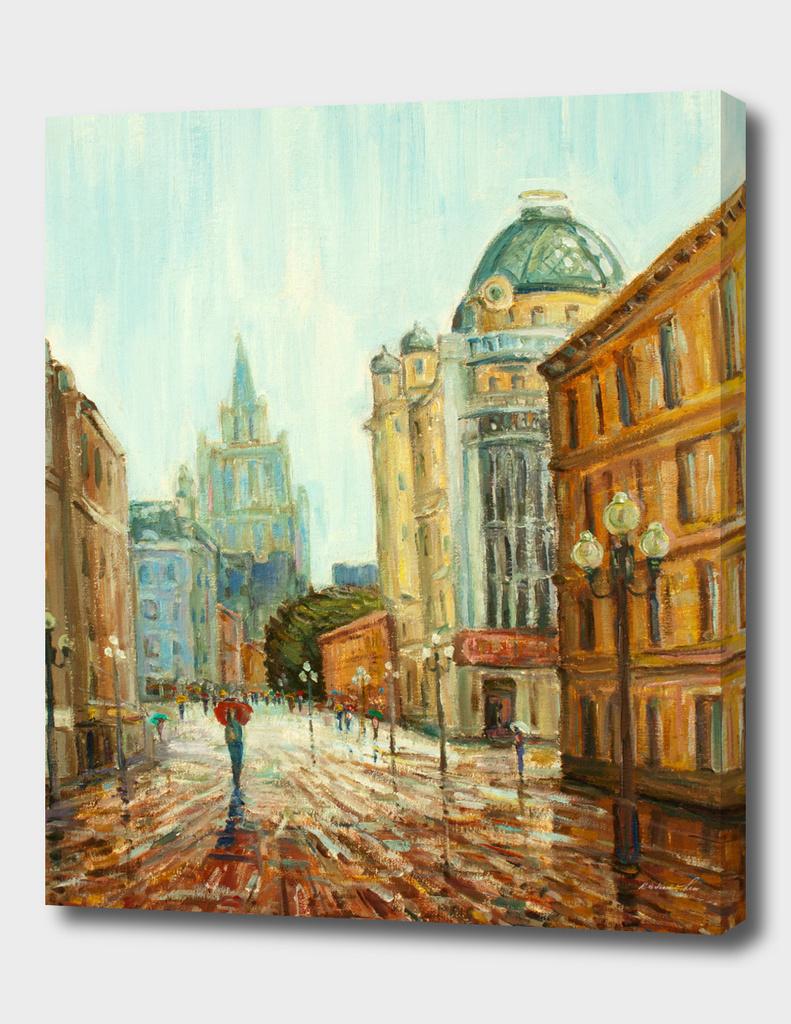arbat  street Moscow - my red umbrella