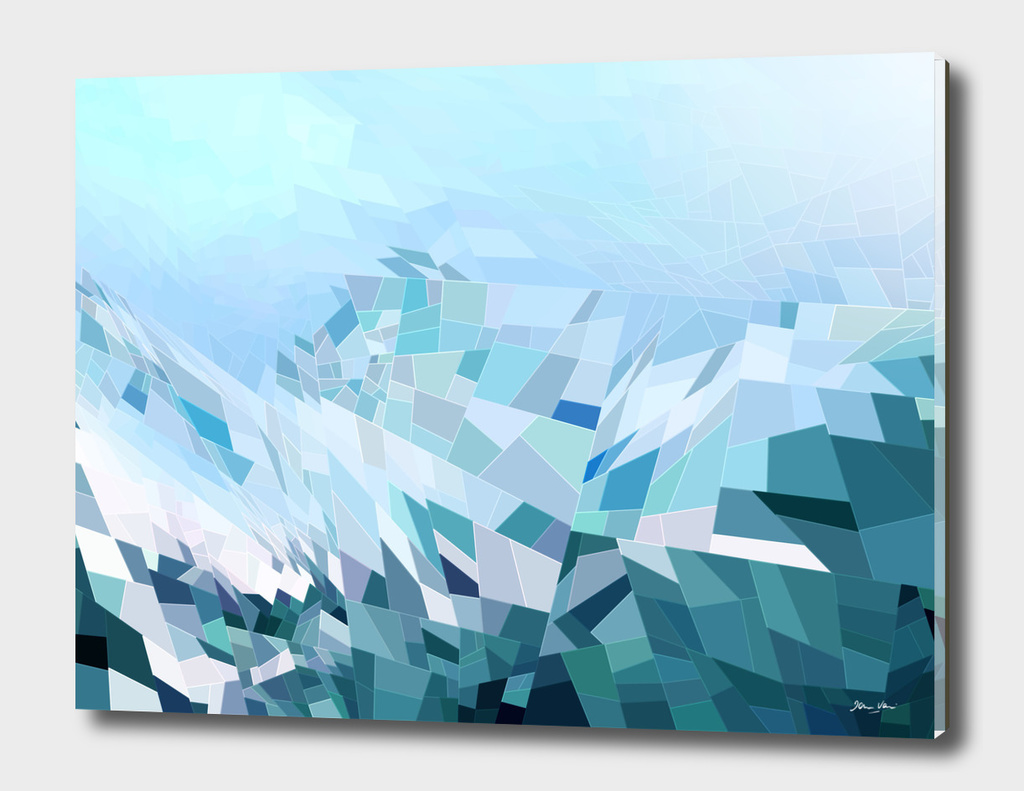 Geometric blue mountains