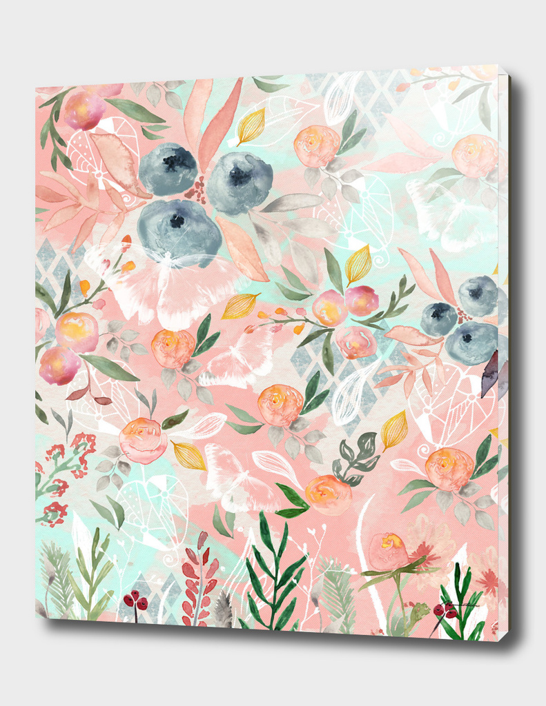 Abstract painting of flowers and plants