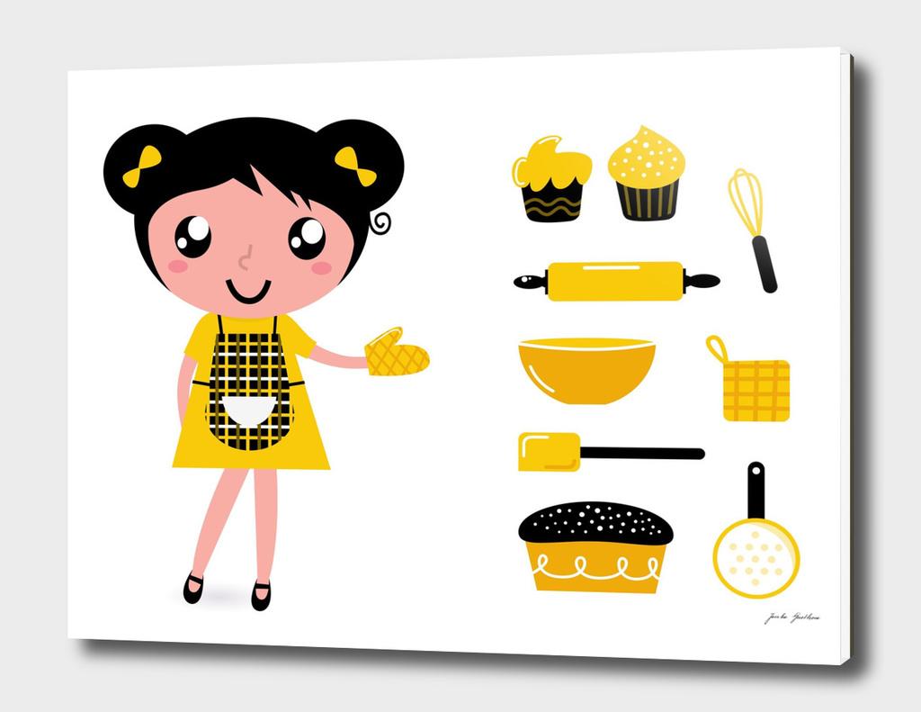 Kitchen girl : yellow and black Original art