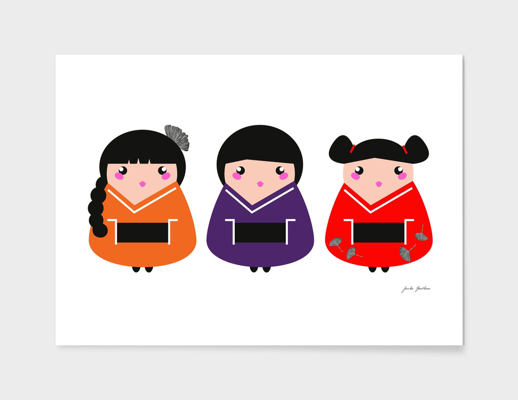 Little ASIA Geisha collection / handdrawn
