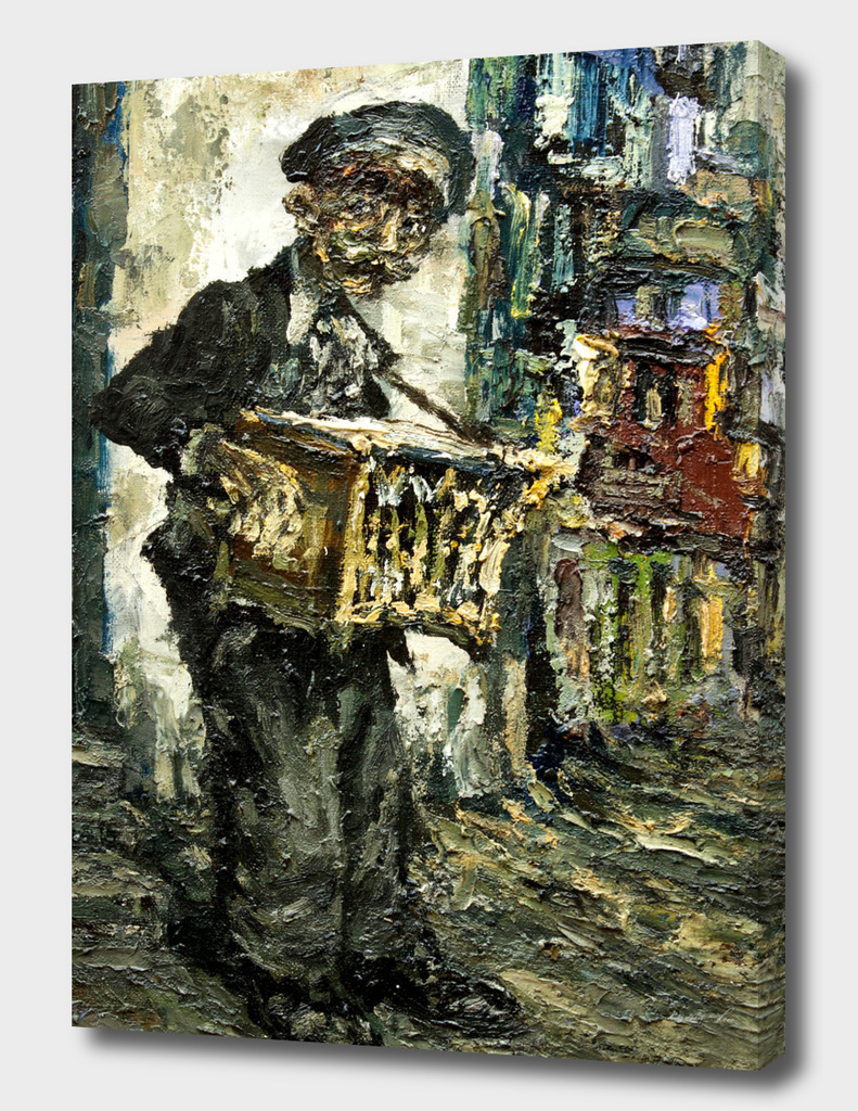 street musician with music box