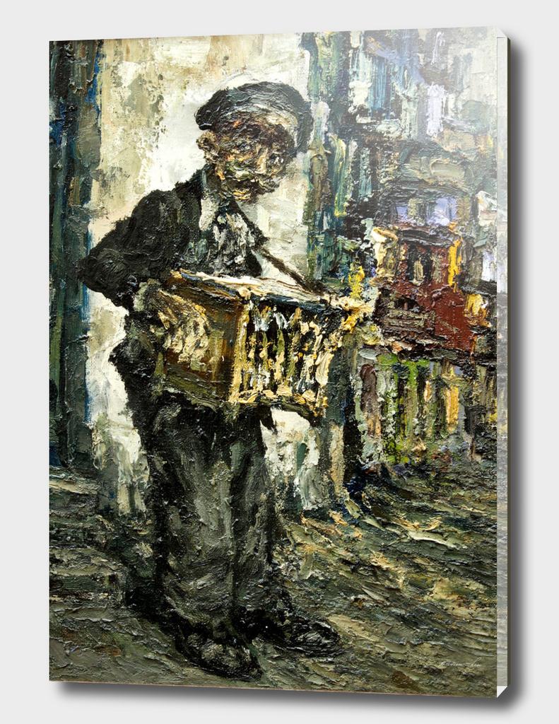 street musician with music box