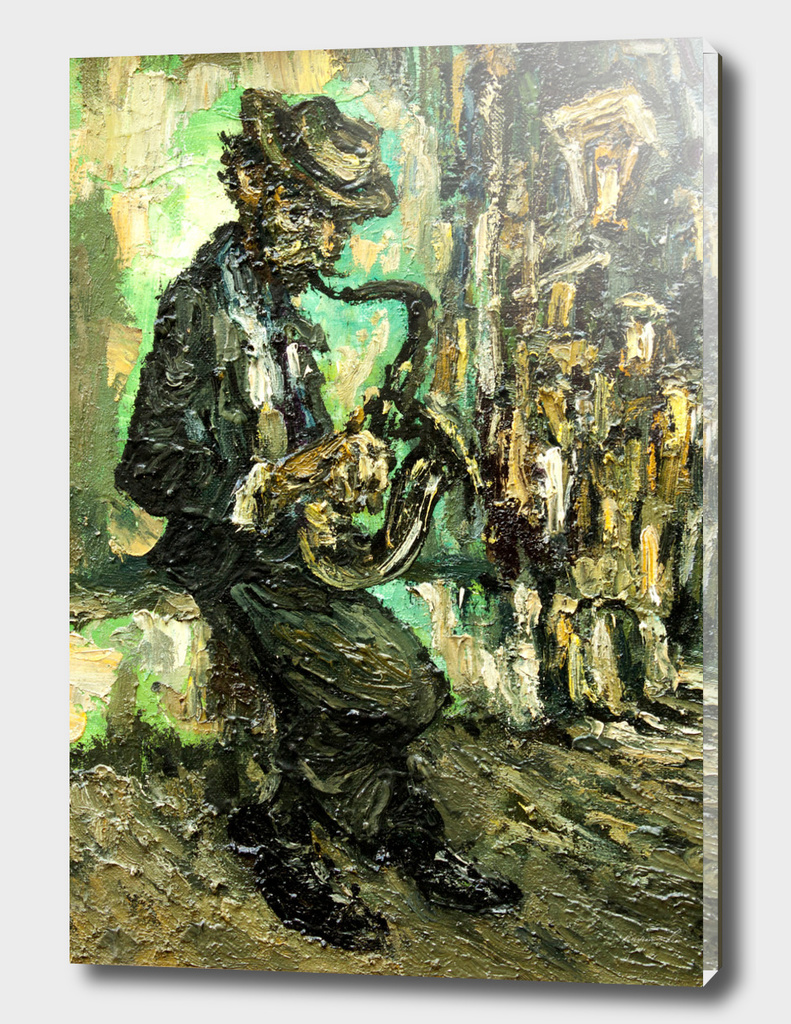 street musician with saxophone