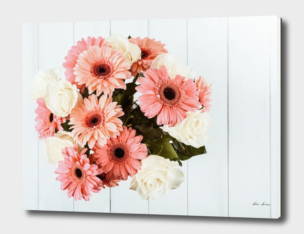 Pink Gerbera Daisy Flowers And White Roses Bouquet
