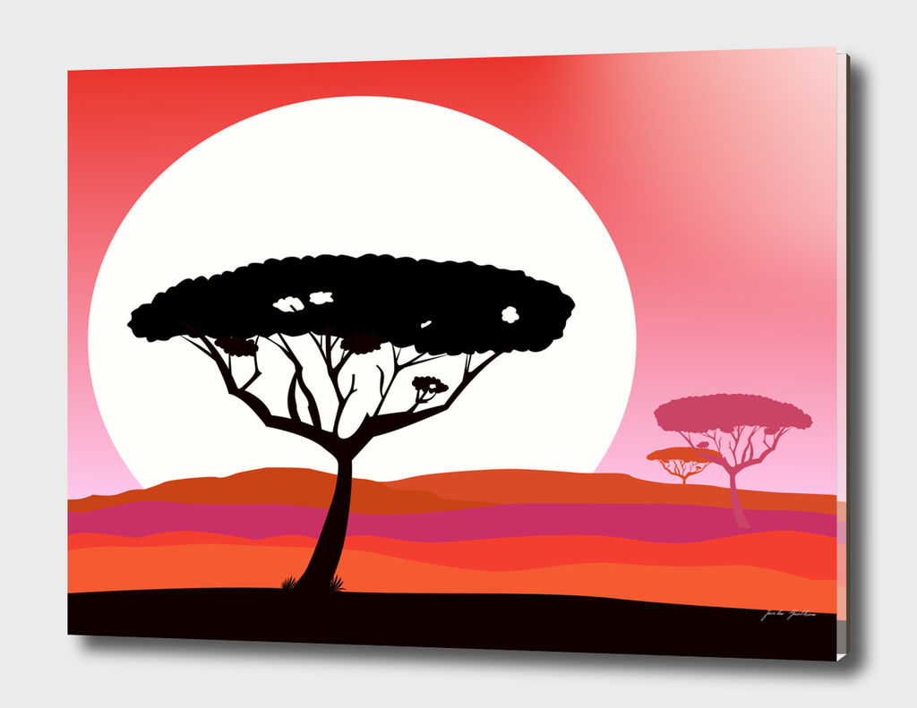 Africa handdrawn tree edition : red