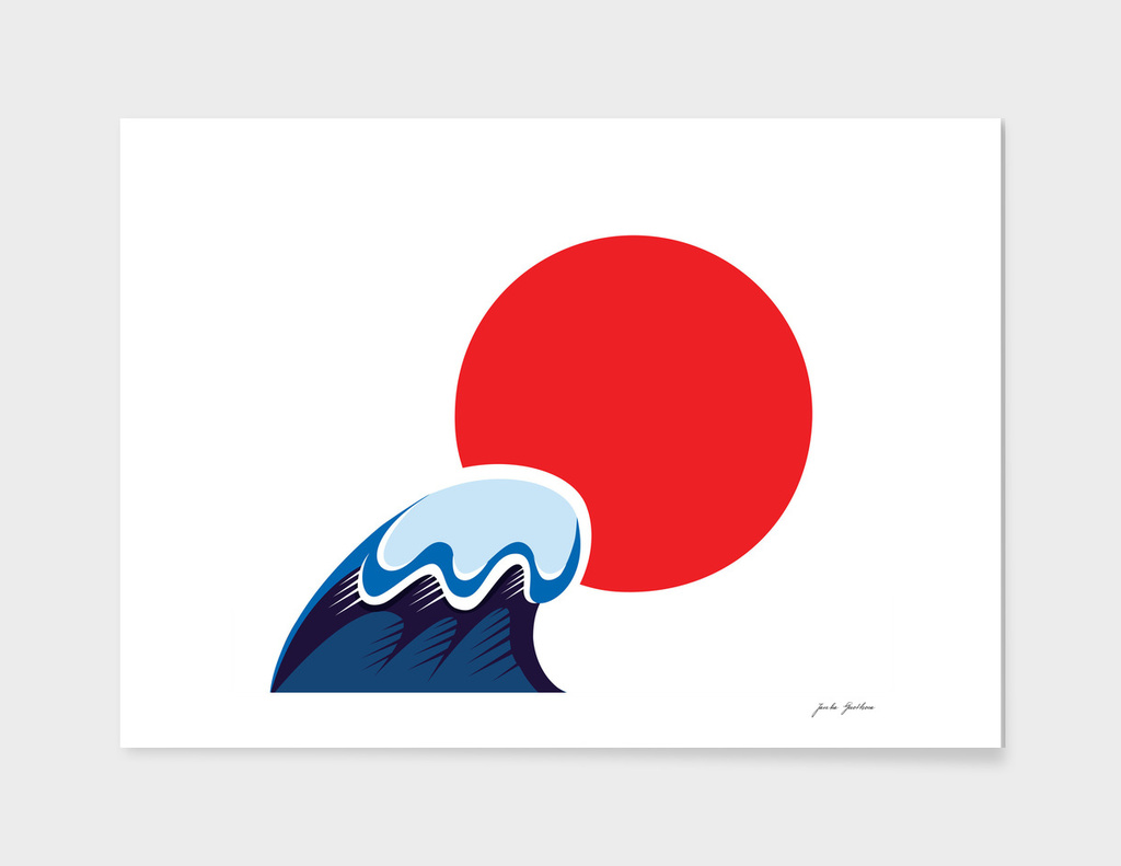 "Japanese ""SUN"" with wave / RED BLUE"