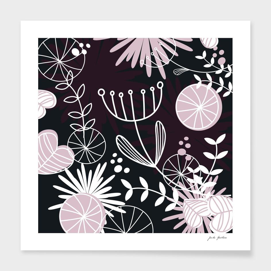 "Black ""FOLK"" flowers : Original artwork"