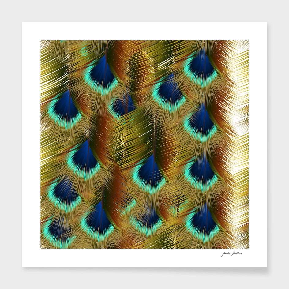 Fashion seamless pattern with peacock feathers