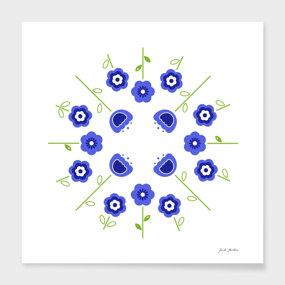 Folk ornaments : blue and white