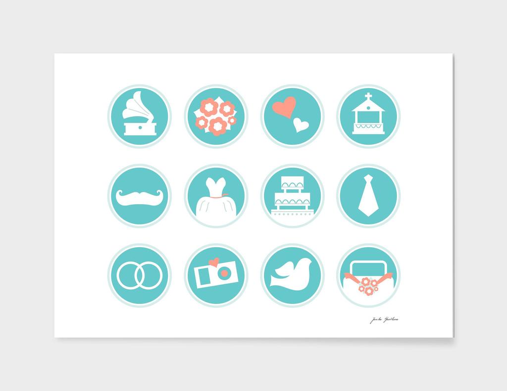 Wedding stylish icons : white and blue