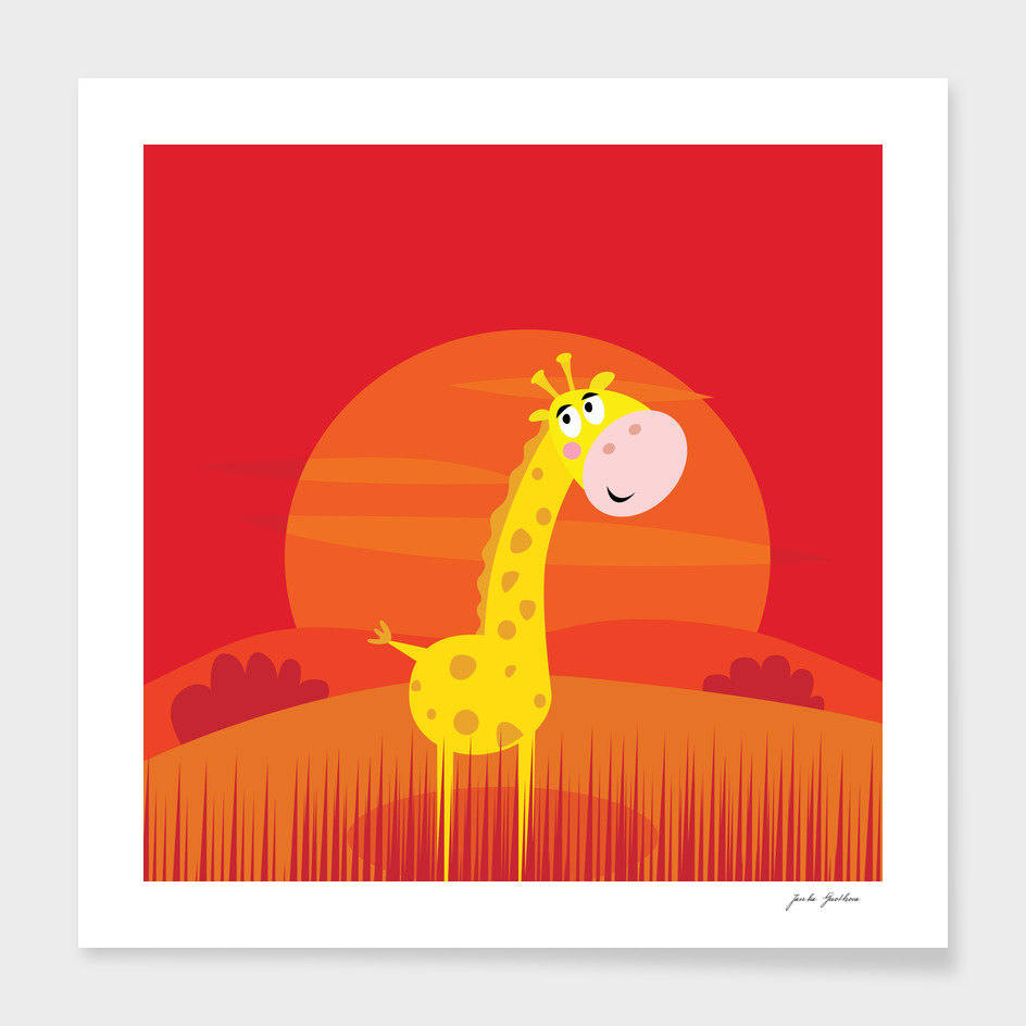 Red stylish giraffe : New art in shop