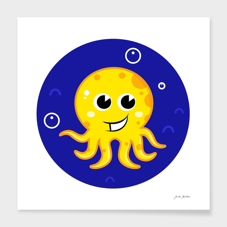 New stylish yellow Octopus on blue