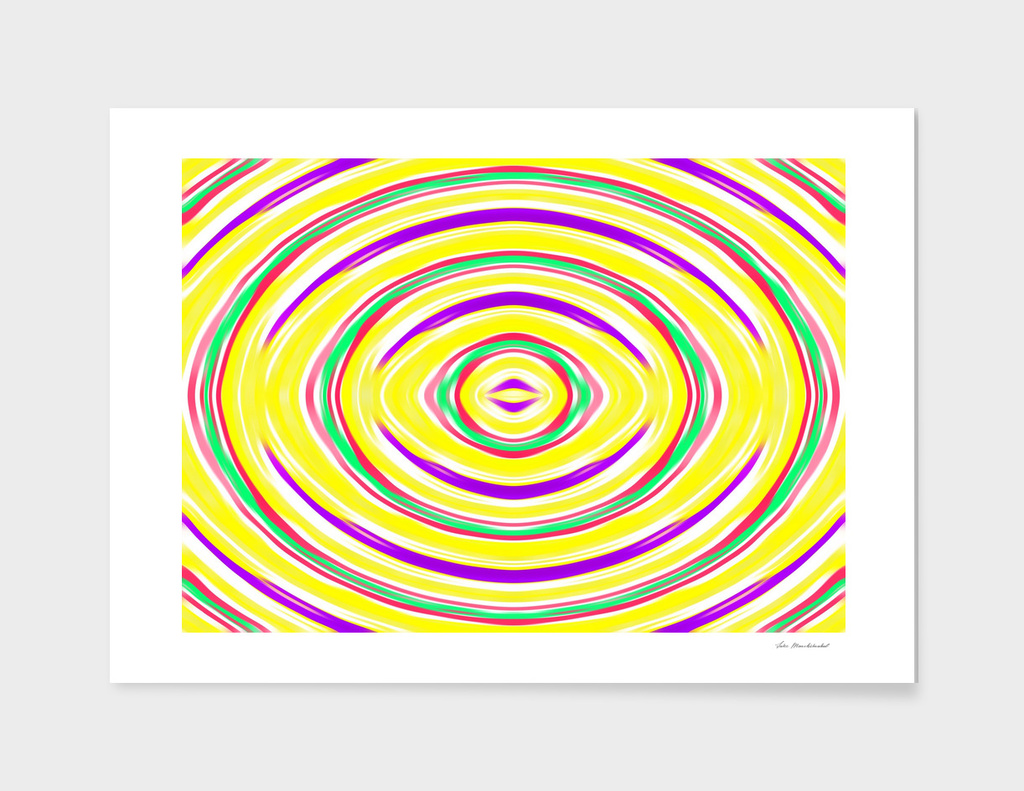yellow purple green pink circle line drawing abstract
