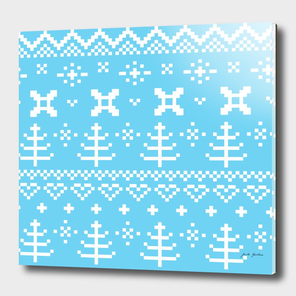 Blue folk ornamental Slavic handdrawn Art