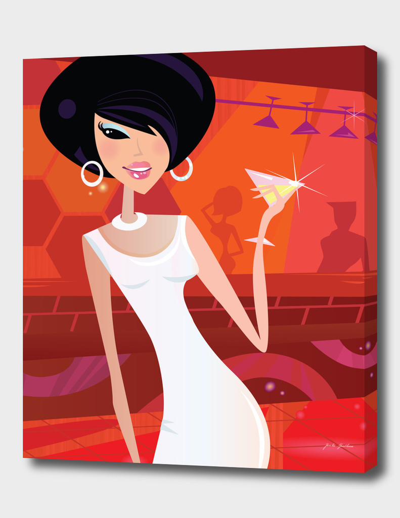 """Manhattan woman"" vintage Art Illustration"