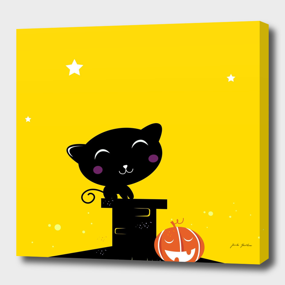 Black halloween Cat : yellow and black