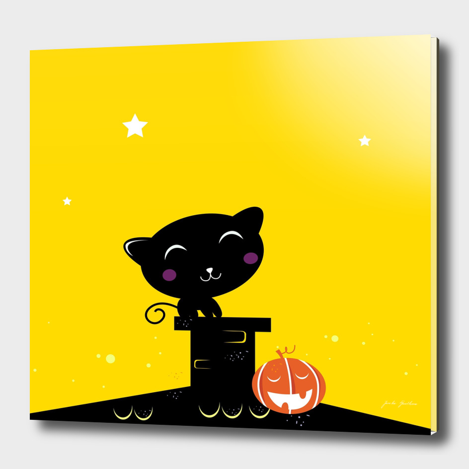 Black halloween Cat : yellow and black