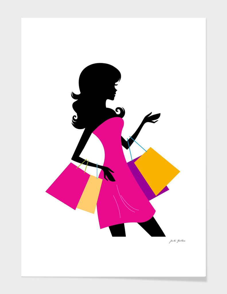 Black woman shopping silhouette