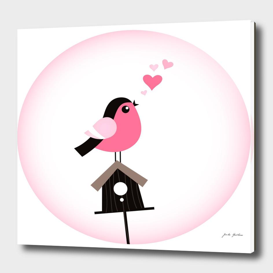 Hand drawn stylish Pink and black bird
