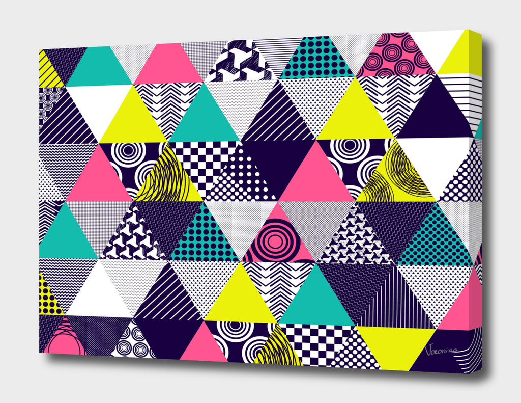 Seamless background with textured multicolored triangles
