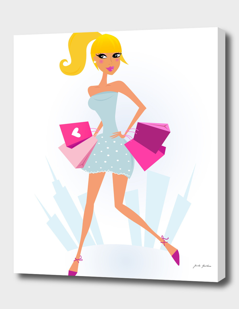 Blond model woman with Shopping bags