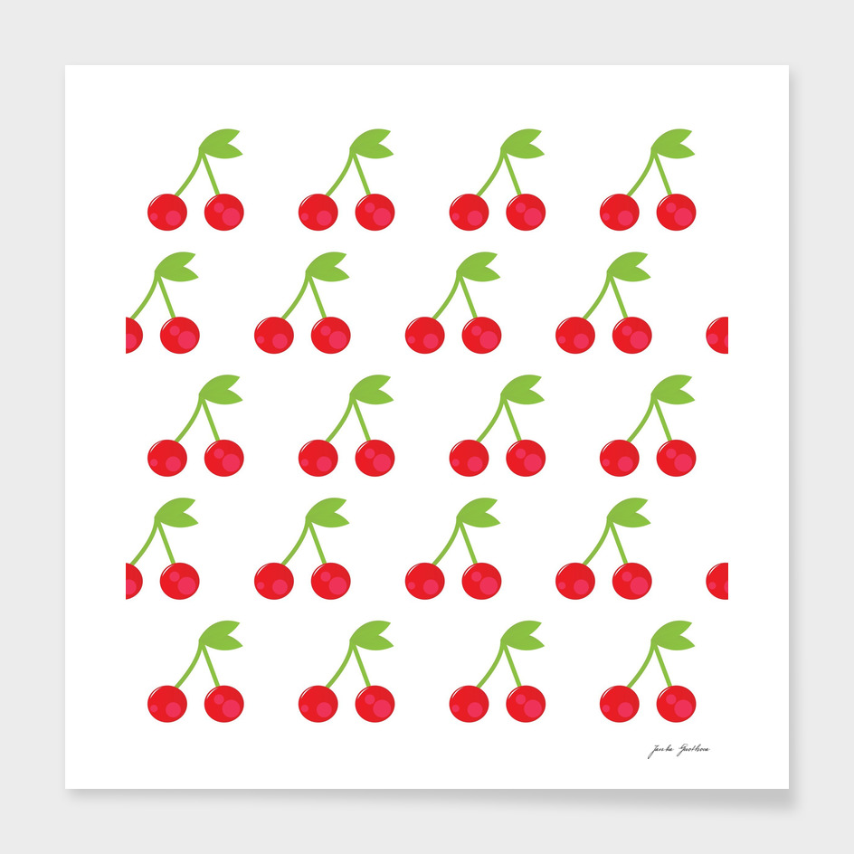 Cherry abstract art : red, white and green