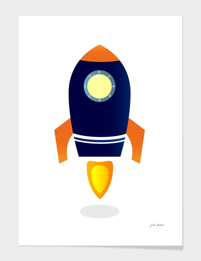 New cartoon hand-drawn cute Rocket