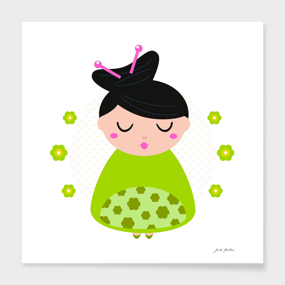 Little cute asia geisha : green