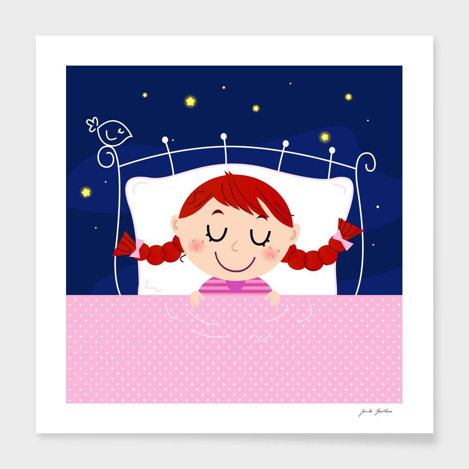 Little hand-drawn cute sleeping Girl ART