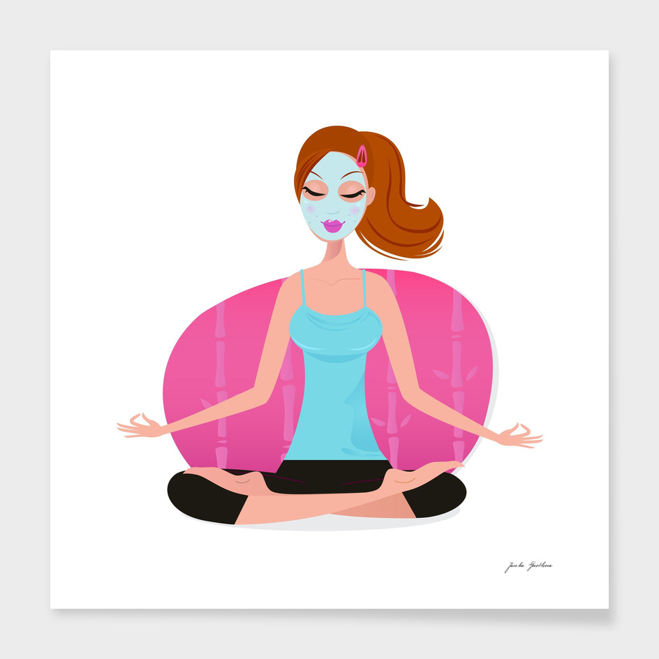 Cute yoga wellness girl illustration