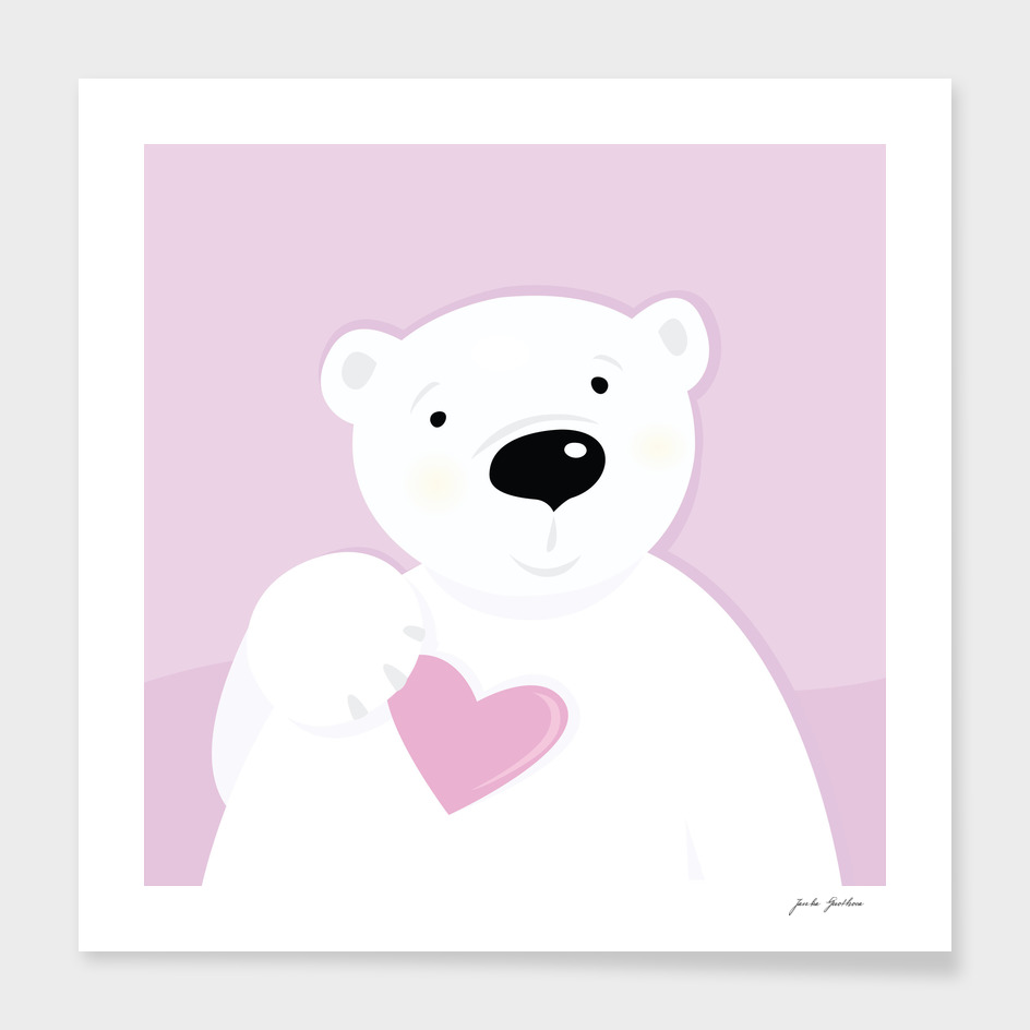 Cute hand drawn Teddy bear : pink white