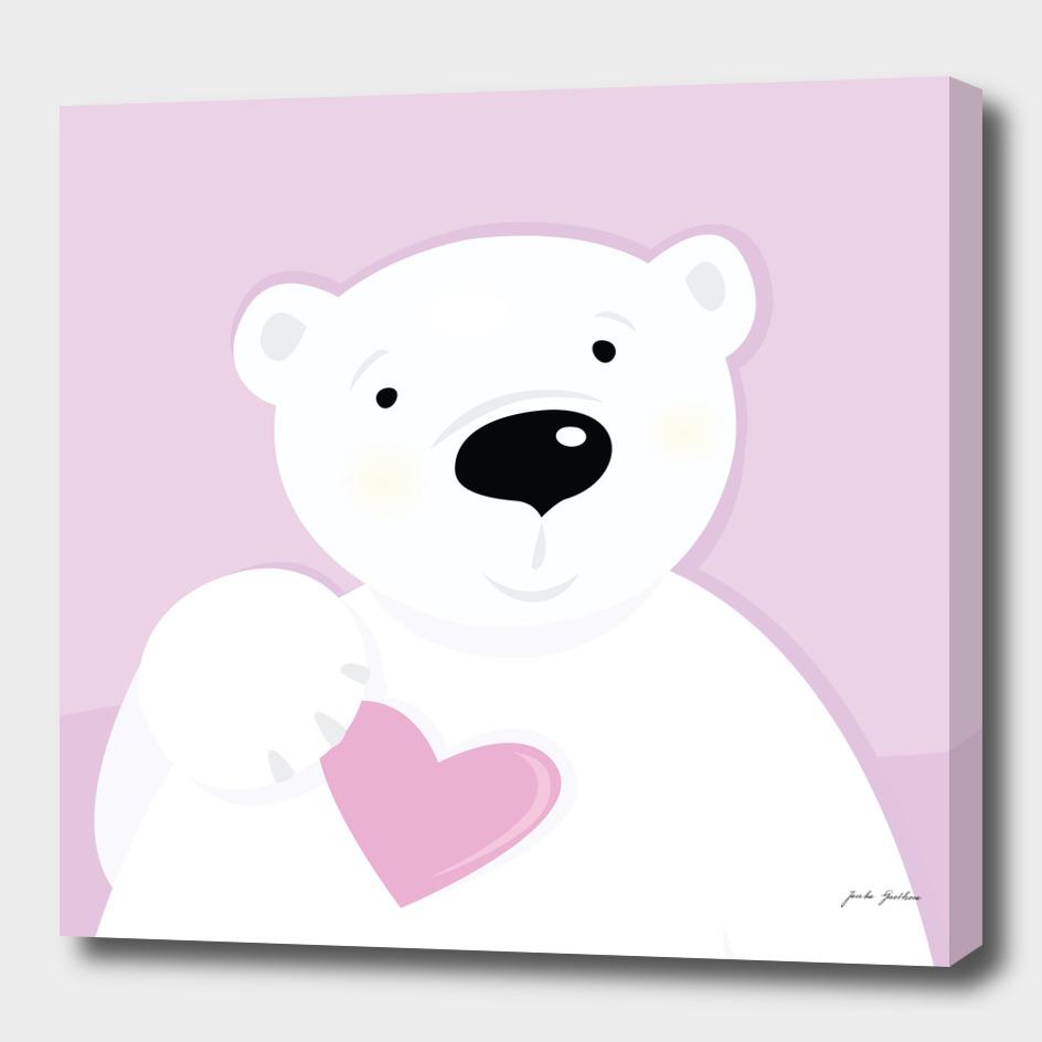 Cute hand drawn Teddy bear : pink white