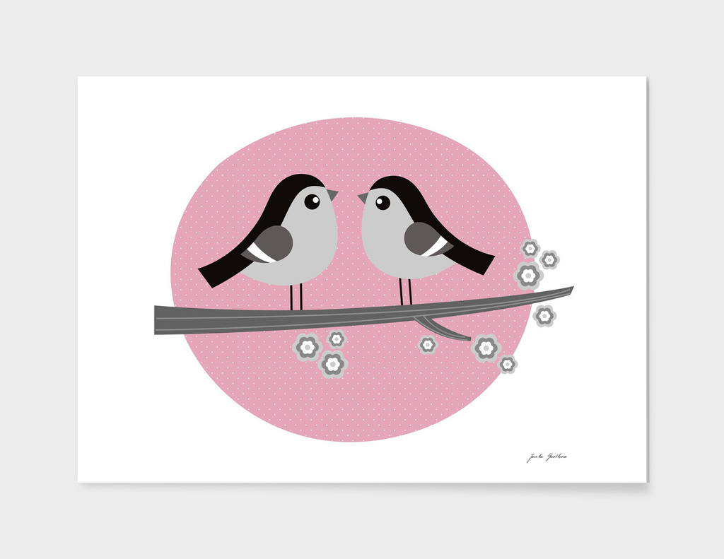 New romance 2 birds / Fashion illustration