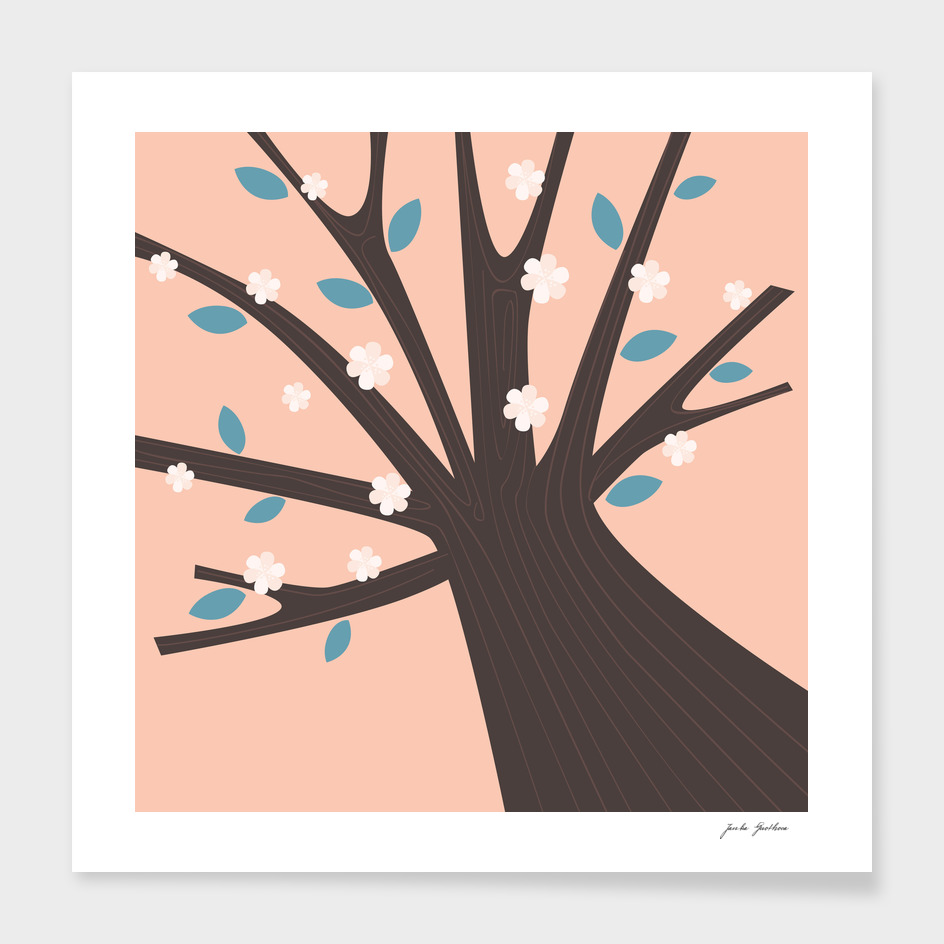 Design VINTAGE tree : brown pink