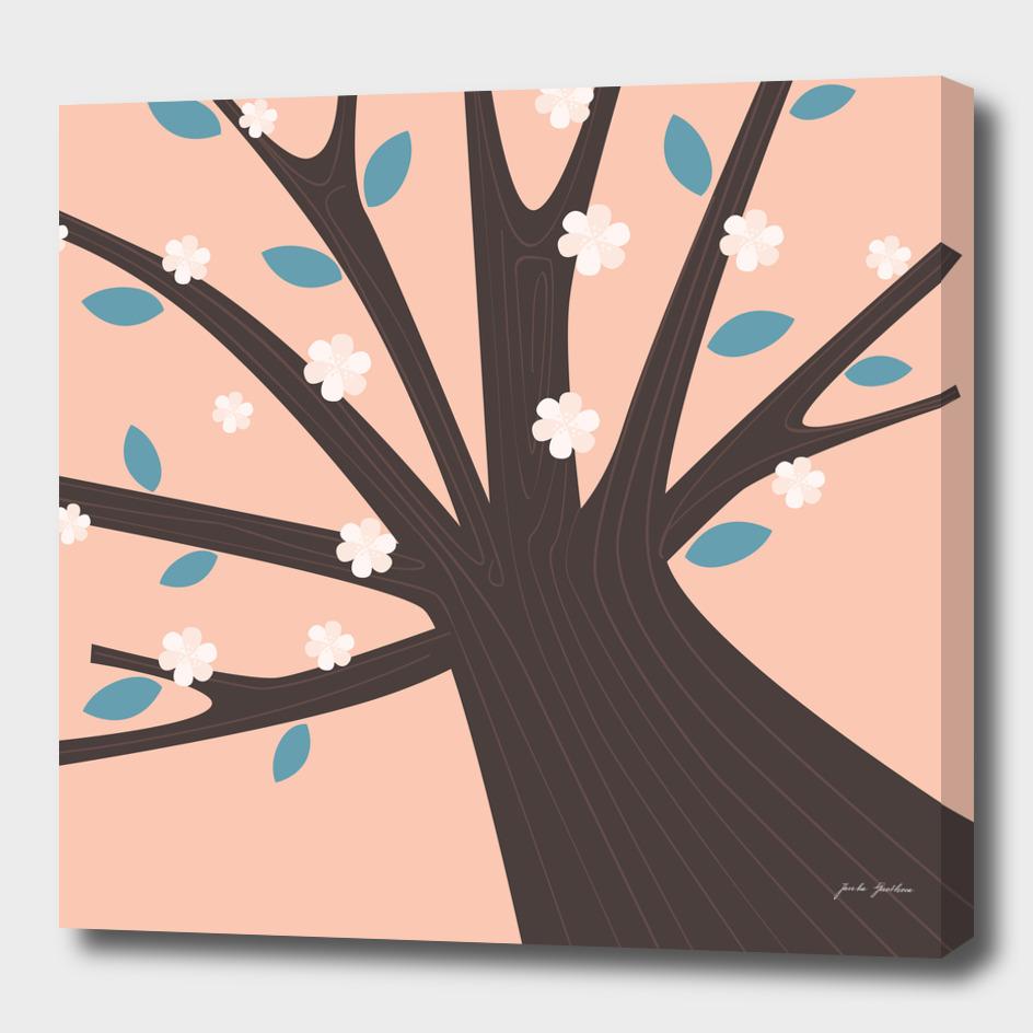 Design VINTAGE tree : brown pink