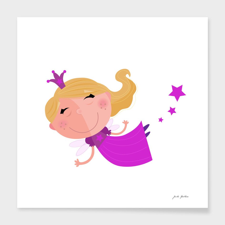 Magical fairy with stars / Kids original art