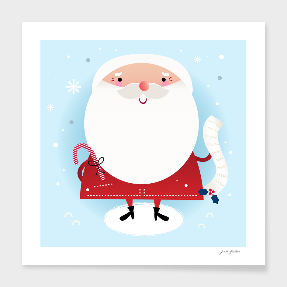 Cute hand-drawn Santa : blue red