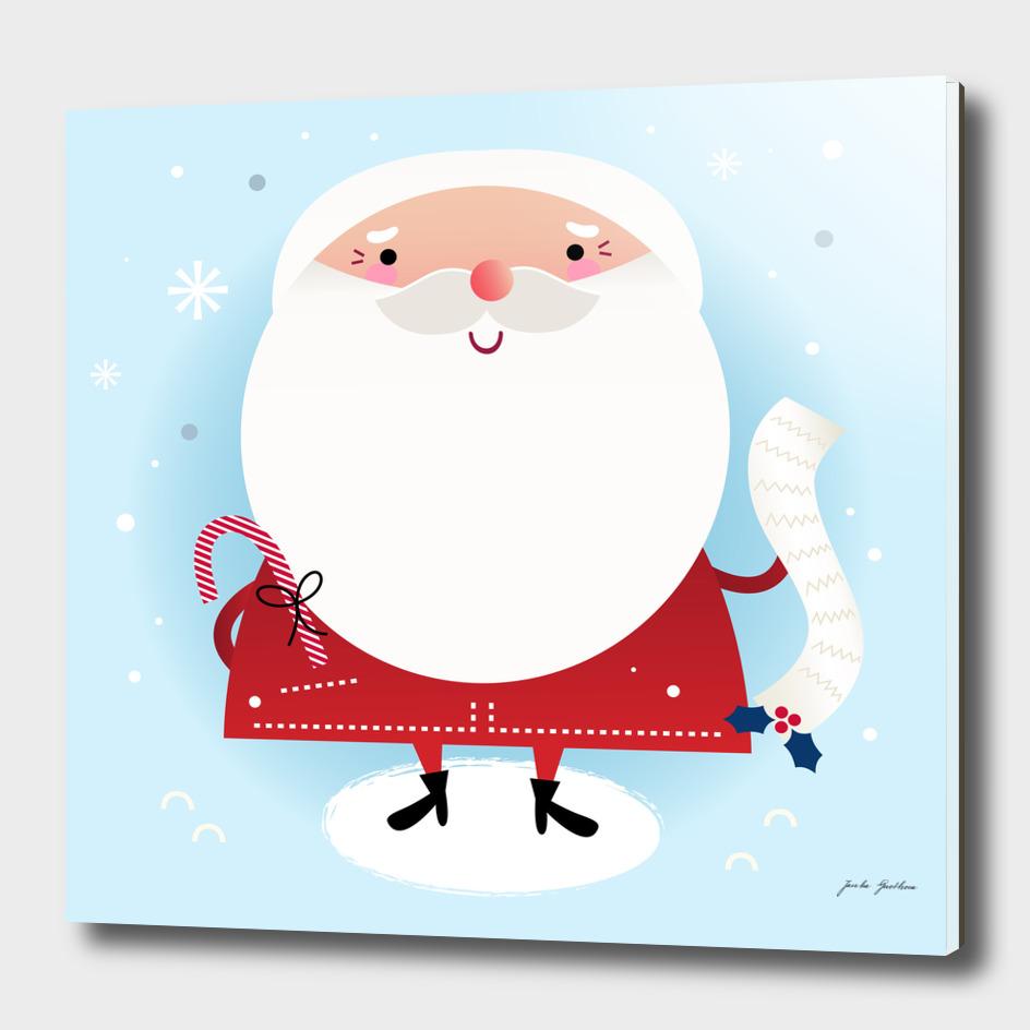 Cute hand-drawn Santa : blue red