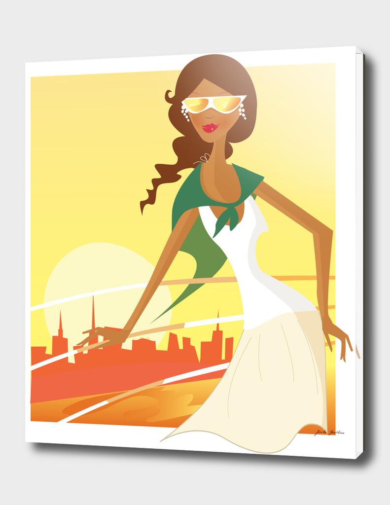 Stylish travel girl : yellow with sunset