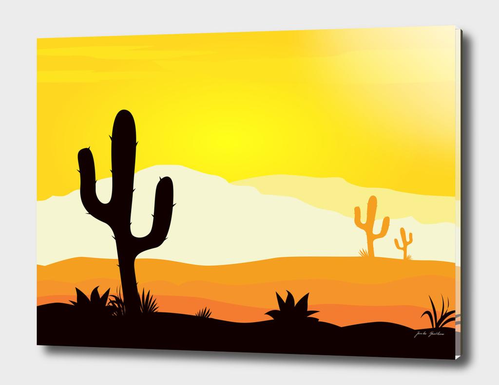Golden sunset : with Black cacktus plant