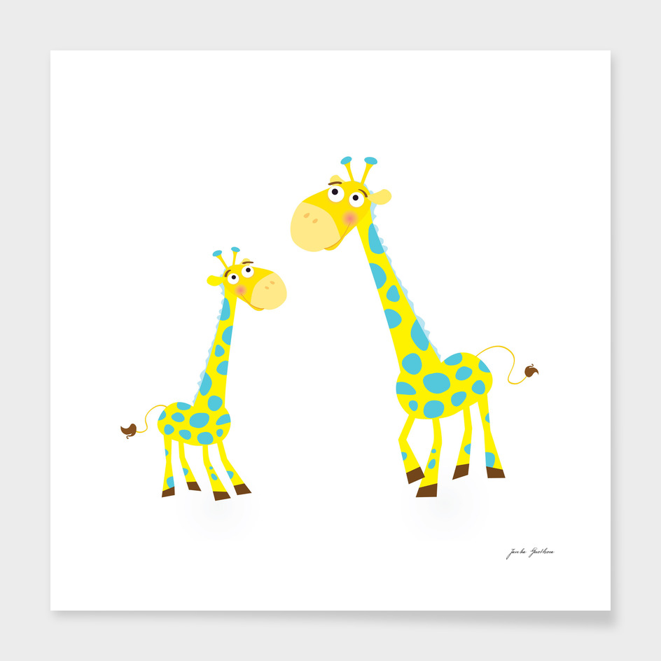 New hand-drawn Giraffe / yellow with Dots